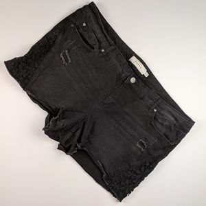 Torrid Denim Cut Off Shorts Lace Inset
